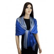 SZAL WIECZOROWY SCARLETT - niebiesko-srebrny