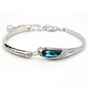 BRANSOLETKA MOONLIGHT - kolor srebrny z turkusowym kryształem