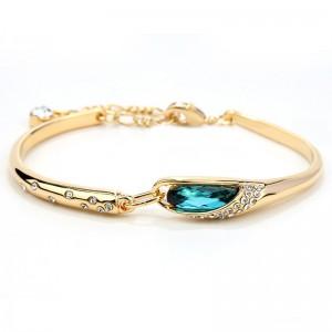 BRANSOLETKA MOONLIGHT - kolor złoty z turkusowym kryształem