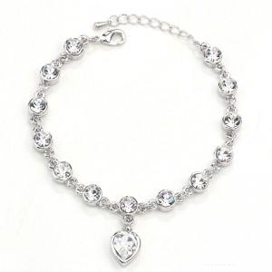 BRANSOLETKA HEART - kolor srebrny, przezroczyste kryształki