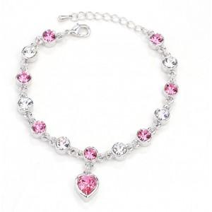 BRANSOLETKA HEART - kolor srebrny - różowe kryształki