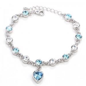 BRANSOLETKA HEART - kolor srebrny - błękitne kryształki
