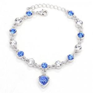 BRANSOLETKA HEART - kolor srebrny - chabrowe kryształki
