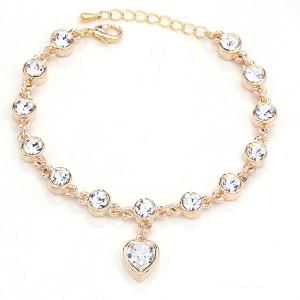 BRANSOLETKA HEART - kolor złoty - przezroczyste kryształki